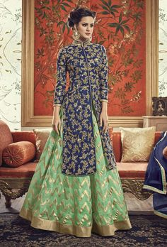 Shop Blue and Green Banarasi Silk Embroidered Lehenga online (SKU Code : at Ishimaya. Latest party wear suits, Straight cut suits online , designer straight suits and more for parties & family wedding functions. Choli Designs, Lehenga Designs, Kurta Designs, Mehndi Designs, Indian Gowns, Indian Attire, Pakistani Dresses, Indian Outfits, Punjabi Dress