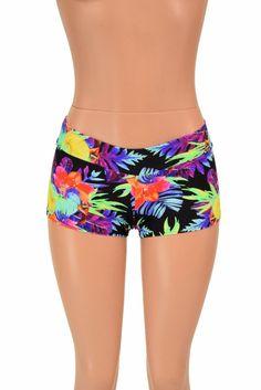 Lowrise Sonic Bloom UV Glow Booty Shorts Neon Floral Rave Festival Clubwear - 155535 Rave Shorts, Boho Shorts, Sonic Bloom, Low Rise Shorts, Boy Cuts, Rave Festival, Lycra Spandex, Clubwear, Gym Shorts Womens