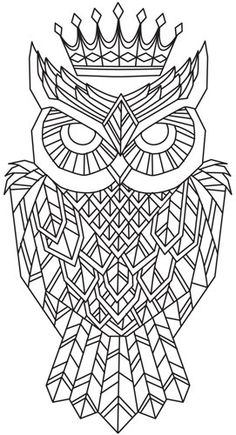 Owl Tattoo Design Coloring Page Geometric Owl Coloring Pages and Owl Owl Coloring Pages, Coloring Books, Embroidery Patterns, Hand Embroidery, Geometric Mandala, Geometric Owl Tattoo, Mandalas Painting, Urban Threads, Owl Art