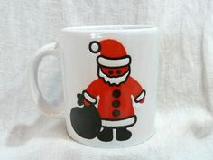 Vintage Waechtersbach w Germany Santa Cup Mug Black Red White | eBay