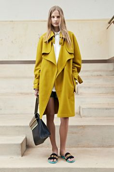 bright trench coat & sandals #style #fashion