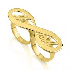So nice! 24K Gold Plated Two Initial Infinity Ring