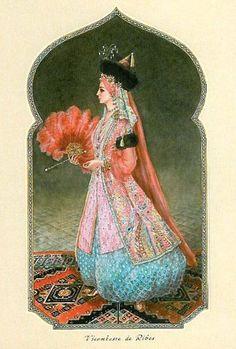 Vicomtesse de Ribes at the Oriental Bal 1969. Illustration by Alexandre Serebriakoff (1907-1994).