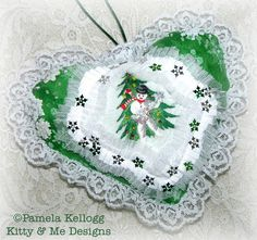 Christmas Hanging Heart Snowman Tree Snowflakes by Kittyandme, $14.95