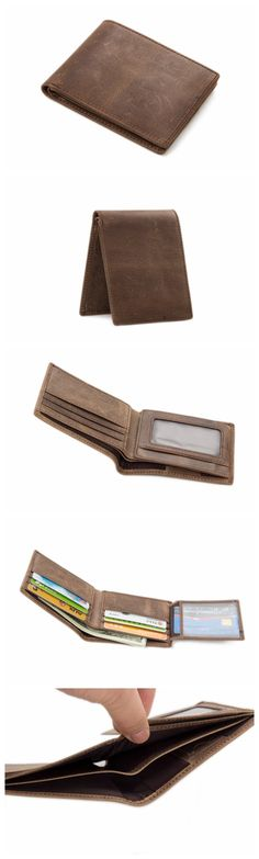 Handcrafted Wholesale High Quality Genuine Leather Wallet Money Bag Purse Men Short Wallet