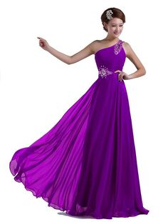 DLFASHION One-shoulder Floor Length Beaded Chiffon Prom Dress * Awesome product. Click the image : Dresses