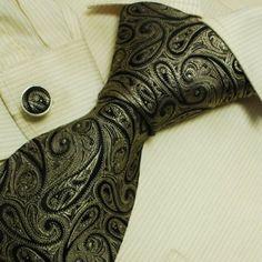 Brown Pattern Designer Ties for Men Black Paisley Discount Gifts Discount Silk Neck Tie Cufflinks Set 6634