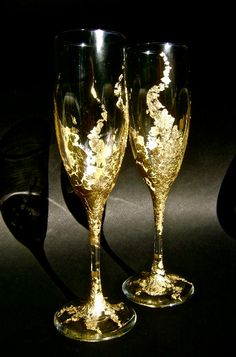 Wedding Champagne Gles Hand Decorated With By Purebeautyart 47 00