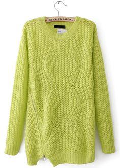 Pretty stitch pattern.  Neon Yellow Diamond Knitting Zipper Embellished Sweater - Sheinside.com