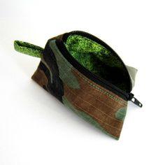 """Porte-monnaie berlingot camouflage recyclé doublé en coton """"mousse végétale"""", fête des pères : Porte-monnaie, portefeuilles par melkikou-upcycling"""