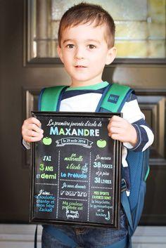 Affiche tableau noir pour maternelle et l'entrée à l'école. À prendre en photo pour chaque première et dernière journée d'école.   French chalkboard for first day of school.  mon.design.me@gmail.com