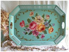 Amazing Large Vintage Aqua Hand Painted Tole Tray