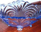 """CAMBRIDGE CAPRICE MOONLIGHT Blue Bowl Oval 4 Toed Handled 12""""  No.65 Heavy Crystal Depression Glass 1930s"""