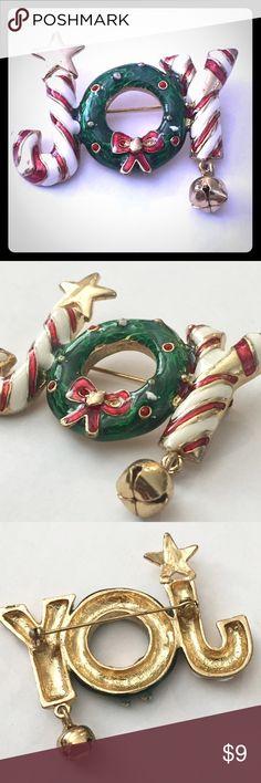 """Cute Christmas JOY Jingle Bell Enamel Brooch Cute Christmas JOY Jingle Bell Enamel Brooch. Approx 1.5""""x2.5"""" Jewelry Brooches"""