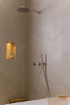 COCOON bathroom taps | modern bathroom with inox bathroom taps from Dutch designer brand COCOON | bathroom without tiles | grey bathroom | www.bycocoon.com