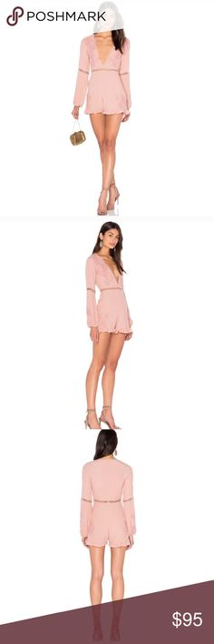 For Love and Lemons Lilou floral romper Small S NWOT For Love and Lemons lilou dusty pink floral lace romper. Gorgeous for a night out in a beautiful dusty pink color! Never worn size small. I got this at the for love and lemons sale in la. The size small tag is missing but this is 100% size small not xs. For Love And Lemons Other