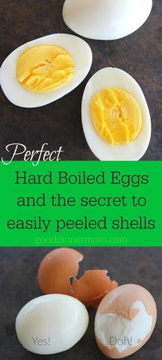 Boiled Eggs and The Secret to Easily Peeled Shells Simple and perfect hard boiled eggs with shells that practically slide right off!Simple and perfect hard boiled eggs with shells that practically slide right off! Making Hard Boiled Eggs, Perfect Hard Boiled Eggs, Boiled Egg Diet, Soft Boiled Eggs, Healthy Snacks, Healthy Eating, Healthy Recipes, Vegetarian Recipes, Kitchen
