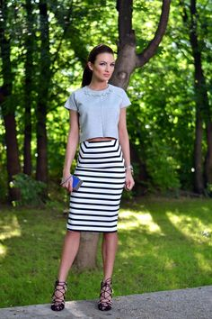 @roressclothes closet ideas #women fashion outfit #clothing style apparel Babyblue Top with Striped Skirt