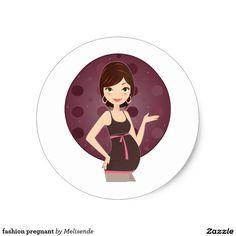 fashion pregnant round sticker