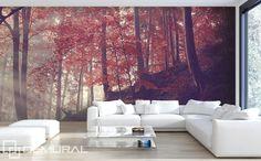 Brilian Ide Desain Wallpaper Dinding Ruang Tamu Minimalis Motif Natural Alam Warna Ungu Nyaman Elegan Mempesona Cantik Mewah Terbaru