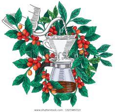 Coffee Illustration, Plant Illustration, Mural Cafe, Cafe Menu Design, Coffee Doodle, Blackboard Art, Cubist Art, Coffee Plant, Plant Drawing