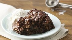 It's magic!  A rich hot fudge sauce forms while the cake bakes.  Yum!
