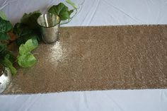 Champagne Matte Gold Sequin Table Runners Matte by DinDinDecor