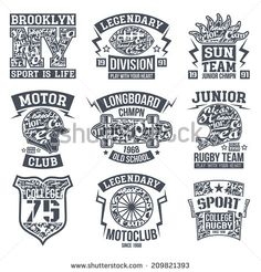 Rugby, motoclub, longboard college sport emblem graphic design for t-shirt. Monochrome print on a light background - stock vector