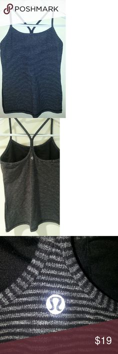 Lululemon athletic tank top Striped athletic tank top with built-in sports bra , runs small. lululemon athletica Tops Tank Tops