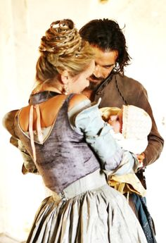 Musketeers - Queen Anne (Alexandra Dowling) and Aramis (Santiago Cabrera) with The Dauphin