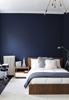 singing the blues. Love the dark blue/gray/white combo for bedroom. Maybe just paint one wall with the dark blue?