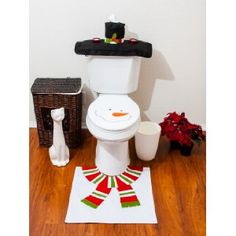 Christmas Decorations Happy Santa Toilet Seat Cover Rug Bathroom Set Snowman♪K Industrial Christmas Decorations, Elegant Christmas Decor, Christmas Gift Decorations, Christmas Fun, Beautiful Christmas, Office Christmas, Kid Bathroom Decor, Christmas Bathroom Decor, Bathroom Sets