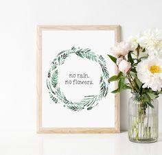 Plakat no rain.no flowers A3 - WeJustLikePrints - Plakaty typograficzne
