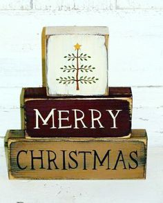 23 Merry Christmas Signs Decorating Ideas To Try Now - Feed Inspiration : Merry Christmas Wood Block set Christmas Blocks, Christmas Wood Crafts, Merry Christmas Sign, Prim Christmas, Christmas Projects, Holiday Crafts, Christmas Holidays, Christmas Decorations, Country Christmas