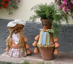 DIY: Clay Pot Flower People in garden art  with planter People Flower DIY clay pot
