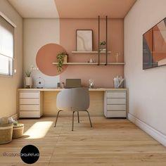 #casa #apartamento #decoração #reforma #construção Bedroom Wall Designs, Bedroom Decor, Peach Rooms, Geometric Wall Paint, Room Interior, Interior Design, Interior Concept, Home Office Decor, Home Decor