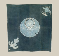 """Japanese Meiji Furoshiki - Meiji era (1868-1911) - A cotton furoshiki made up of four joined cloths, featuring a huge family crest in the center.  52"""" x 56"""".  Yorke Antique Textiles"""