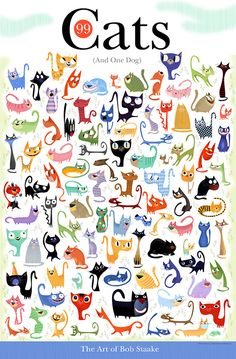 "If you're a fan of illustrator Bob Staake, then you're going to NEED this poster! It's Bob's 99 Cats (And One Dog) poster featuring 99 whimsical cat illustrations with one dog hiding in the mix. The poster measures 23"" x 35"" and is available exclusively through bobstaake.com for $24.99. Can you find your cat(s) in there?"
