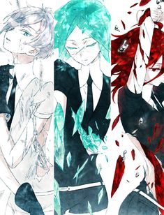 Land of the Lustrous -Antarcticite & Phosphophyllite & Cinnabar