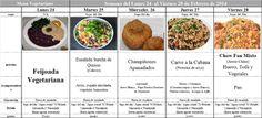 Menú Vegetariano del 24 al 28 de Febrero de 2014