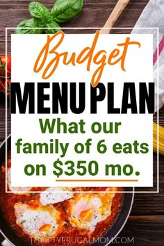 Not sure what to feed your family? Here's the budget menu plan our family of 6 has been enjoying! Includes lots of frugal, delicious easy meal ideas! #thriftyfrugalmom #menuplan #budgetmenu #familymenuplan