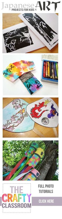 Tons of ideas for art projects for kids. Many more Japanese Art Projects for Kids too! Free, Full photo tutorials, great for homeschooling and unit studies. History Projects, Arts And Crafts Projects, Art History, Projects For Kids, Kids Crafts, Art For Kids, Drawing For Kids, Japan For Kids, Children Activities