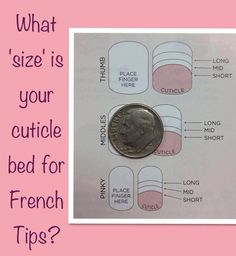 Are you trying to find the right size in French Tips, but you don't have a catalog handy? Use this trick. Compare the size of a dime and your own nail to that in the image. Where lines are in the image shows you where the tip of the nail wrap will start.