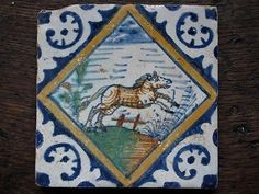 An Authentic Dutch Delft Tile with A Polchrome Horse or Pony in Gallop | eBay
