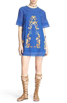 Free shipping and returns on Free People 'Perfectly Victorian' Minidress at Nordstrom.com. Color-pop floral embroidery and openwork crochet trim embellish an airy cotton minidress cut in a delightfully flared silhouette. A softly pleated yoke and rippling short sleeves add to the cute, casual look.