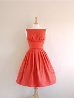 I want every dress in this shop! Size UK 12 US 810  Red Linen Tiffany Prom Dress  by digforvictory, £95.00
