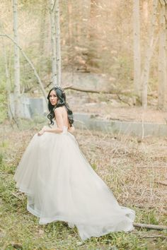Sweeping Chiffon Wedding Dress   Kristen Booth Photography   Enchanting Mountain Bridal Portraits in a Fairy Tale Forest