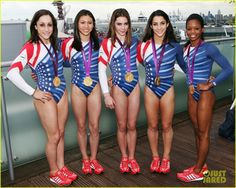 The Fab Five of the U.S. Women's Gymnastics Team – Jordyn Wieber, Kyla Ross, McKayla Maroney, Aly Raisman, and Gabby Douglas – show off their gold medals at the adidas Olympic Media Lounge at Westfield Stratford City on Wednesday (August 8) in London, England. #KyFun