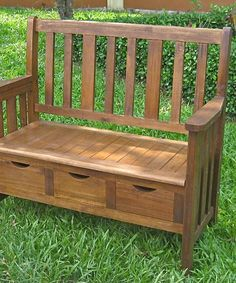 Look at this Natural Triple-Drawer High-Back Storage Bench on #zulily today!