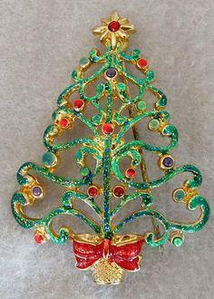 christopher radko enameled rhinestone christmas tree brooch pin free ship us 19 http - Christmas Pins